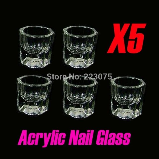 5pcs DAPPEN ACRYLIC GLASS BOWL STRICTLY PROFESSIONAL EYELASH TINTING DISH NAIL ART