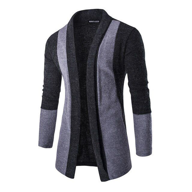 Men's new hit no clasp contrast color sweater cardigan sweater fashion leisure warm clothes M-XXL