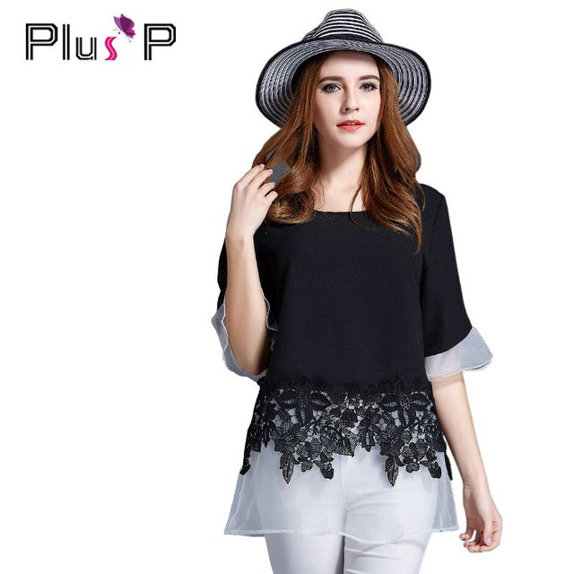 PP 2016 Summer Tees Women Chiffon Lace Black Scollop Short Sleeve Floral Patchwork Woman Tops T Shirt Big Size 4XL 5XL FP0016