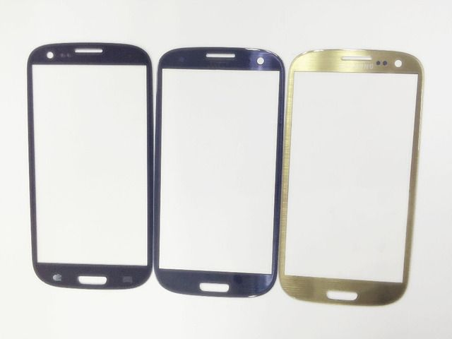 GradeA Black/Gold/Blue Outer LCD Touch Screen Lens Glass For Samsung Galaxy S3 i9300+Free Tools Sticker Parts Replacement