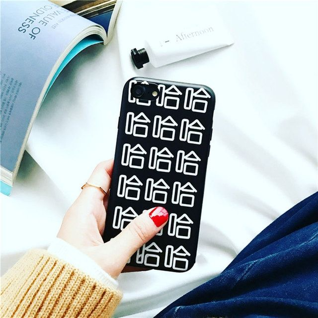 Cute Fashion Chinese Style Letter HA HA HA Printed Soft Slim Back Cover For iPhone 6 s 7 plus Hot Phone Cases Girls Boys Cool