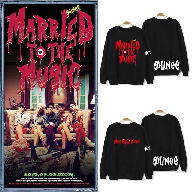 2015 kpop SHINEE Hoodies Married To The Music loose hoodie long sleeve korean style clothes women men hiphop sweatshirt KEY ONEW