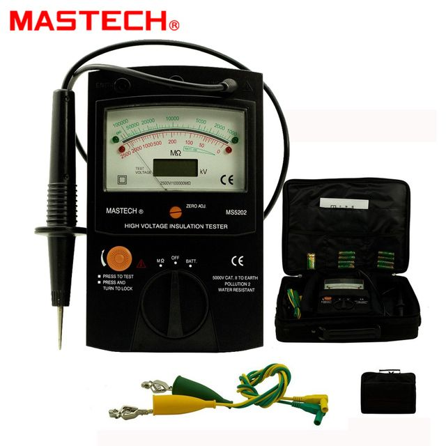 MASTECH MS5202 100000Mohm Digital Analog Insulation Tester tramegger high voltage insulation tester