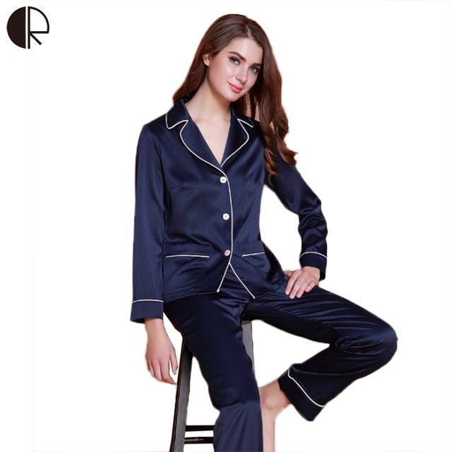 2016 Spring Autumn Fashion Pyjama Imitate Silk V-neck Nightwear Female Pajama Sets For Women Elegent Pijamas Suit Couple Lounge