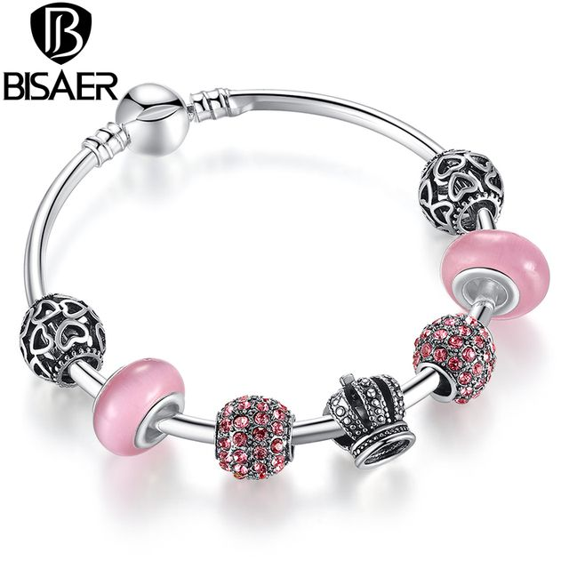 Silver Charm Bracelet Bangle with Open Your Heart & Crown Charms Pink Glass Ball  Bracelet WEU3070