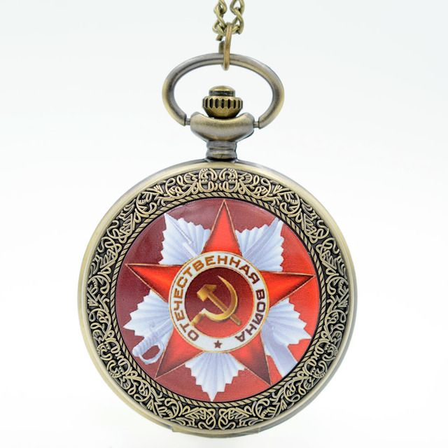 Vintage USSR Emblem Russia Soviet Sickle Hammer Quartz Pocket Watch Analog Pendant Necklace Mens Womens Watches Gifts