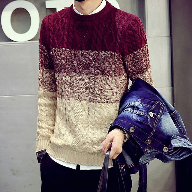 Man Pullover Good Qualit Knitwear Gradient Color Autumn Winter Knit Flowers Slim O-neck Long Sleeve Male Warm Thick Men Sweater