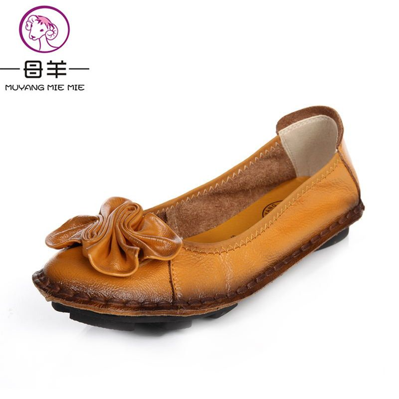 2019 Women Shoes Woman Genuine Leather Flat Shoes Fashion Hand-sewn Leather Loafers Female Casual Shoes Women Flats