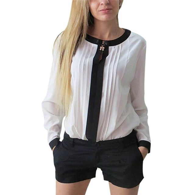 Women Long Sleeve Shirt Chiffon Pleated Patchwork Office Blouses TopsY8664