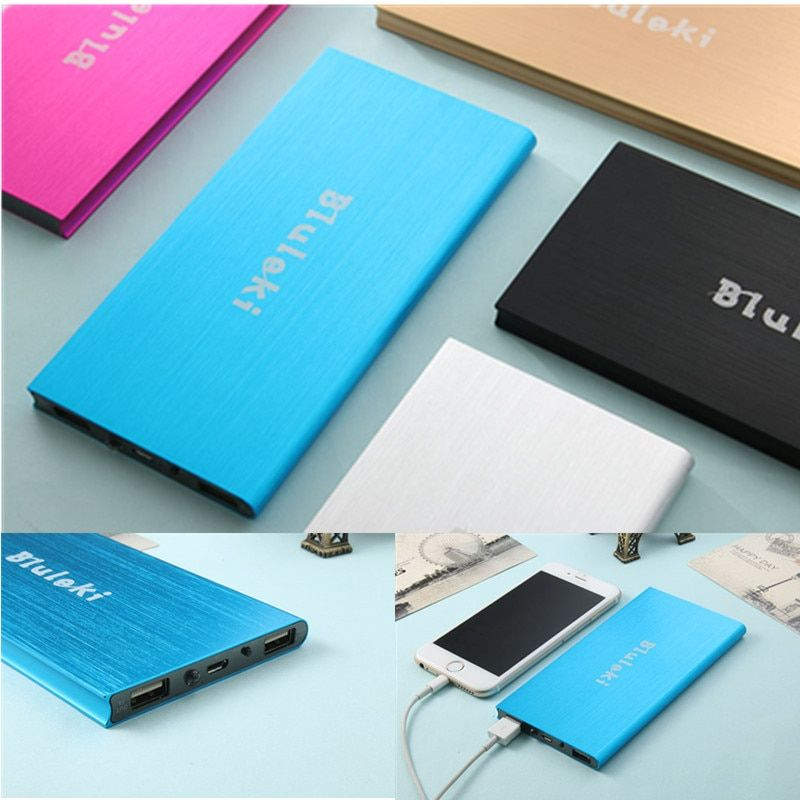 Ultra-thin Mobile Power Bank 20000 mAh metal shell led light USB External Backup Battery Portable universal Phone charger