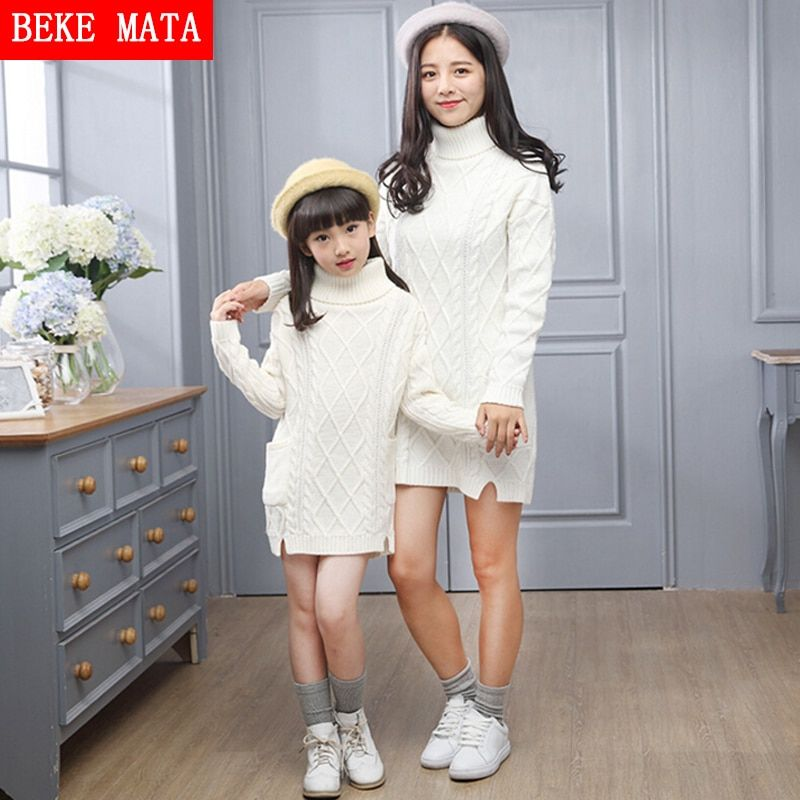 Mother Daughter Dresses Clothes Winter 2016 Fashion Cotton Knitted Sweater For Girl And Mother Turtleneck Family Matching Outfit