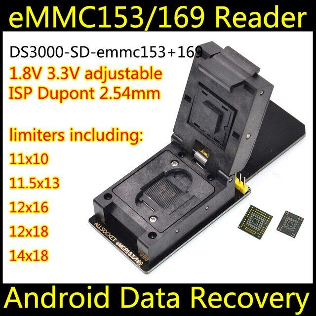 eMMC socket eMMC169 153 socket SD with 5 size limiters, nand flash testing.Programming Adapter,BGA169 BGA153 Short320
