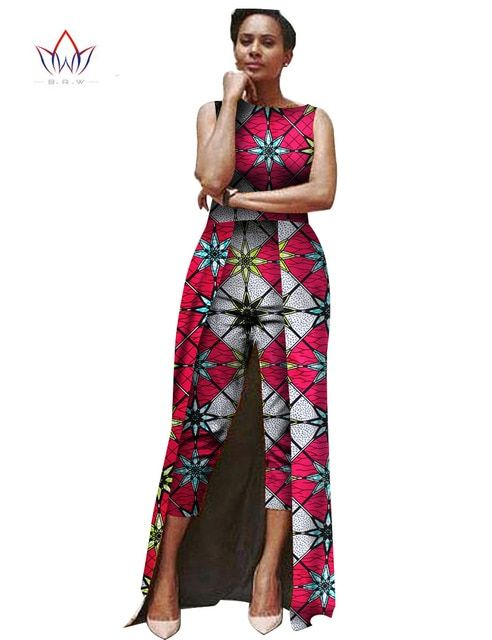 Jumpsuit Women 2017 Summer Bodysuit Africa Clothing Jumpsuit Women 2 Combinaison Femme Customized Maxi Size 6XL Brand  BRW WY503