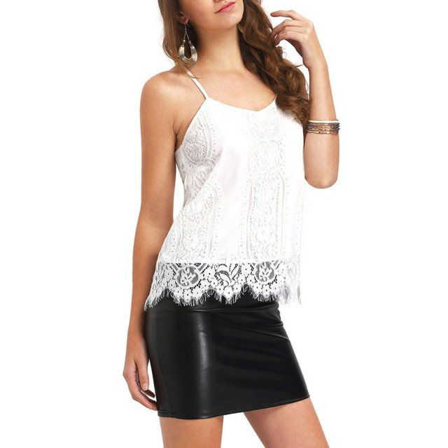 Lady Summer Sleeveless Blouse Women Casual Loose Vest Shirt Tank Tops Blouse Spagettic Strap Crochet Lace Hem Cami Tops
