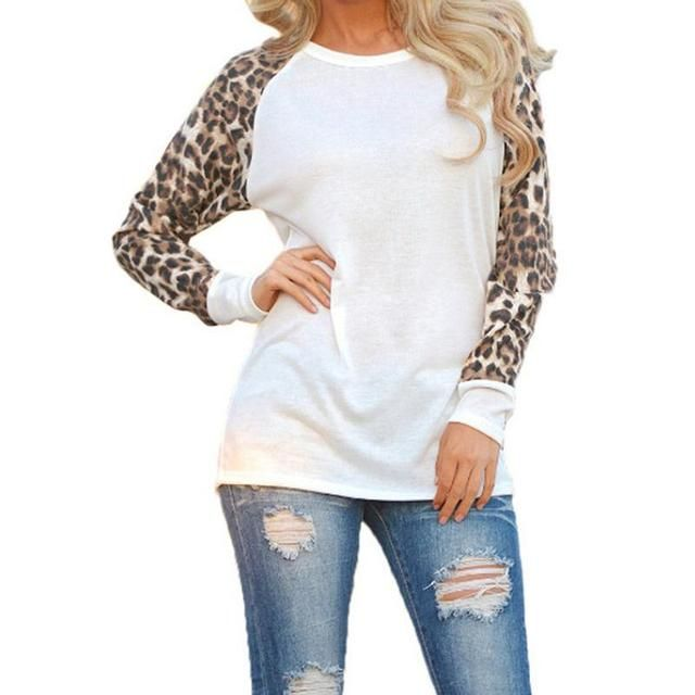 Fashion 2016 New Women Ladies Spring Autumn Long Sleeve Leopard Loose Casual Tees Tops T Shirt 3 Colors Plus Size M-3XL