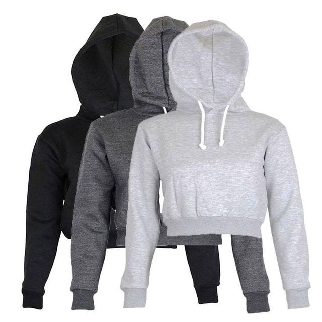 Short Style Long Sleeve Top Women Casual Winter Long Sleeve Hoodie Pullover Color Black Grey Long Sleeved Hooded Sweatshirt