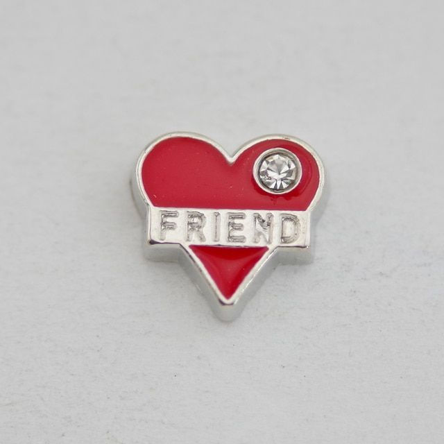 Free shipping floating charms red heart friend with crystal for glass locket 30mm