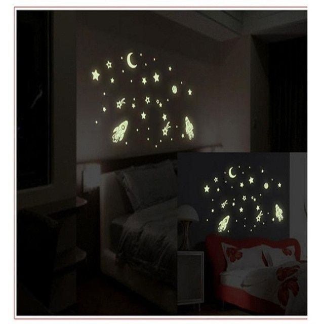 Hot Product Cartoon Home Decals Decor Glow In The Dark Wall Sticker Cosmic Star Spaceship Pegatinas De Pared Wall Sticker