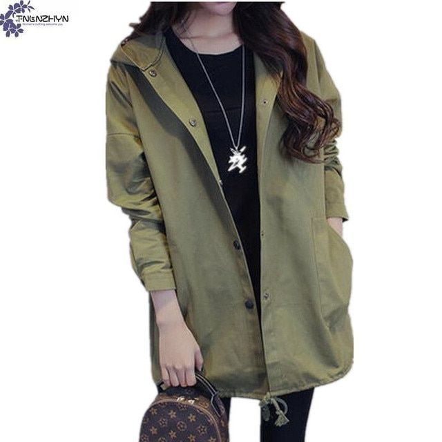TNLNZHYN Women's clothing large size windbreaker jacket 2017 spring new fashion casual long-sleeved hooded female coat TT360