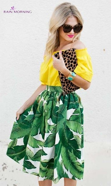 Banana Leaf Print Skirt Midi 2016 Saia Faldas Femininas Ladies Retro Skirt Pattern Fashion Women Casual Flare Pleated Midi Skirt