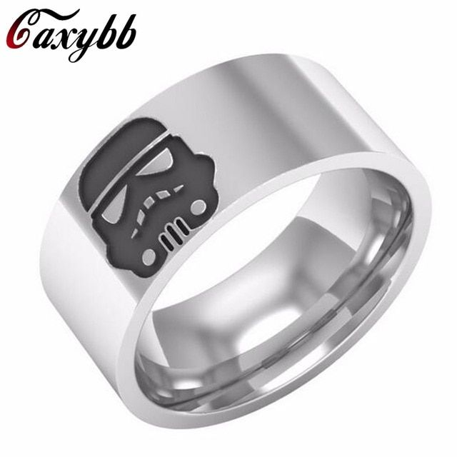 New fashion Star Wars Stormtrooper Stainless Steel Band Ring