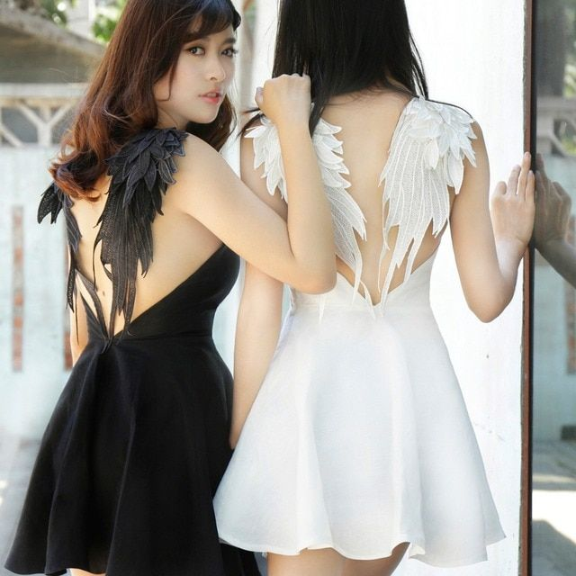 New Sexy Women Lace Dress Black White Angel Style Beach V-neck A-line Dresses Short Mini Wings Back Party Club Dress XS S M L