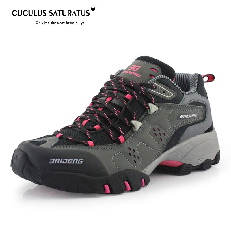 Surface Waterproof Climbing Mountain Boots  Women Hiking Shoes Breathable Shoes Brand 3Colors 8061