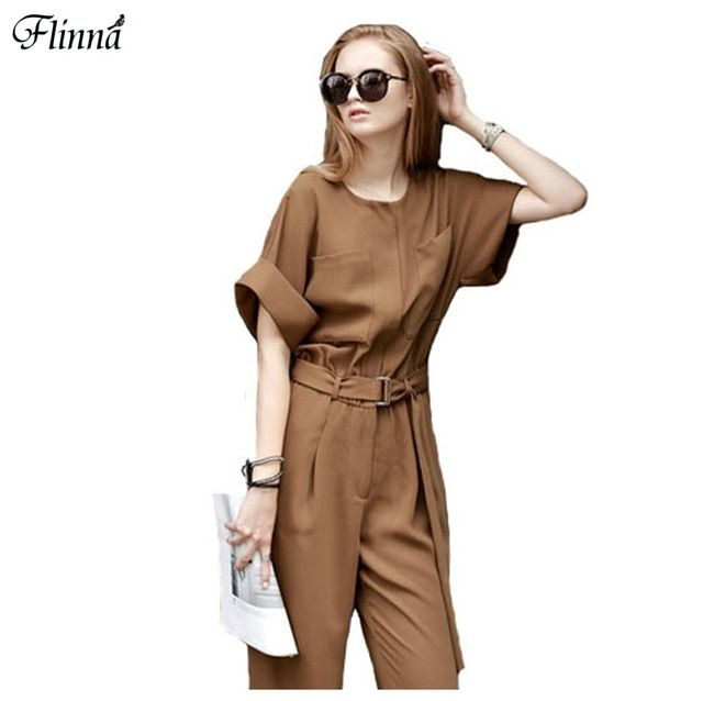 2016 New Summer Fashion Women Overalls Romper Suits High Waist Slim Women Jumpsuit Casual Loose Pants Wide Leg Pants