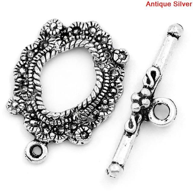 "DoreenBeads Zinc metal alloy Toggle Clasps Round Antique Silver Pattern 24mm x17mm(1"" x 5/8"")26.5mm x7mm(1"" x 2/8""),4 Sets"