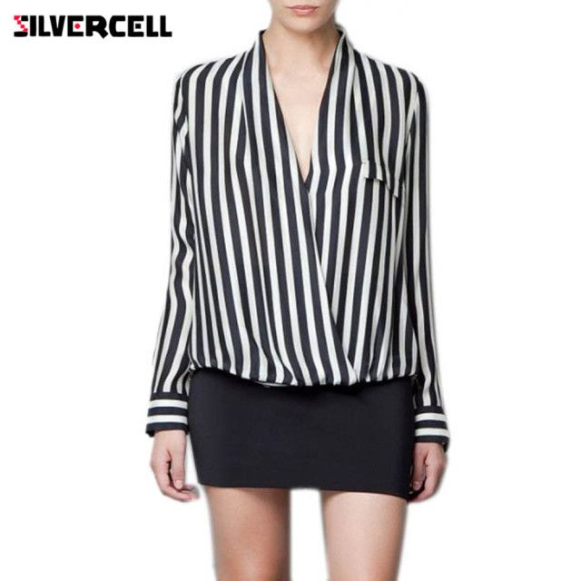 SILVERCELL Long Sleeve Chiffon Blouse Women Autumn Summer Spring Button Black Striped Blouse Shirt lady Tops Shirt