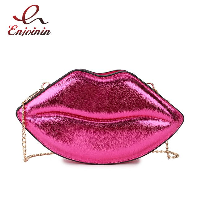Sexy Lips Style Fashion Pu Ladies Day Clutch Bag Chain Purse Shoulder Bag Handbag Women's Crossbody Mini Messenger Bag Flap