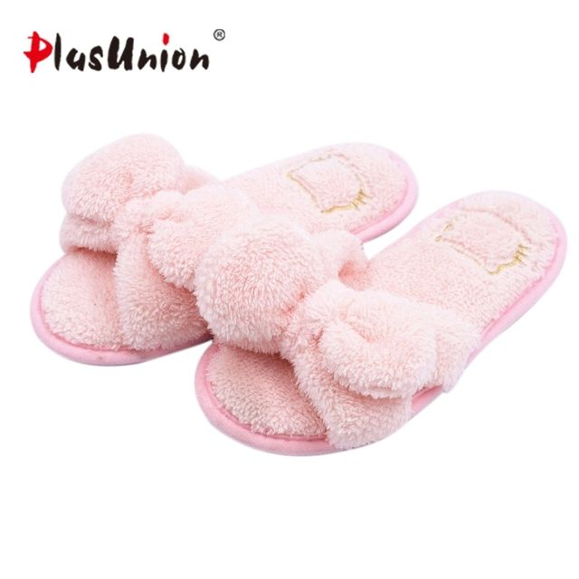 cute butterfly knot indoor winter furry soft slippers women red blue faux plush autumn house home with fur shoes pantoufles