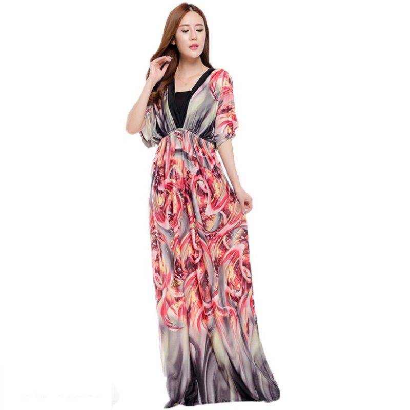 2016 Summer Style Bohemian Women Dress Fashion Printed Long Dresses Sexy V-neck Beach Dress Backless Maxi Dress Vestidos DR184