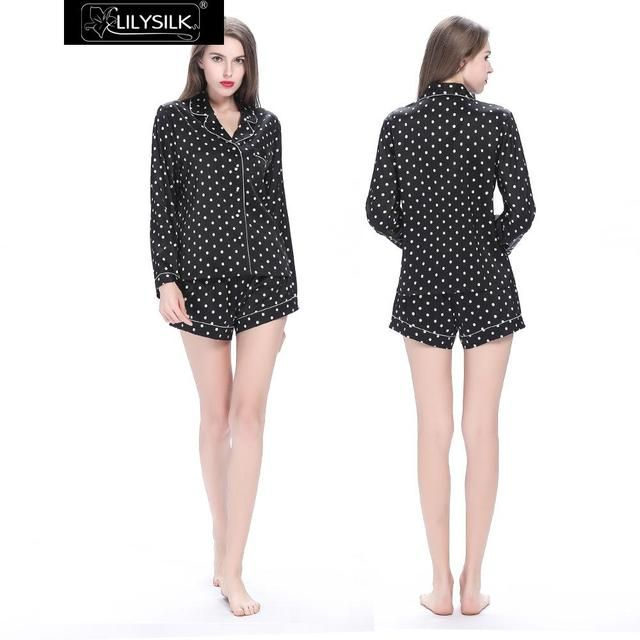 Lilysilk Pajamas Homewear for Women Black Polka Dot Pure Long Sleeve Blouse Shirt With Shorts Set Chinese Natural Silk 22 Momme