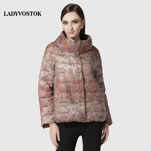 LADYVOSTOK woman warm coat fashion casual short paragraph padded jacket zipper snap large collar 5342