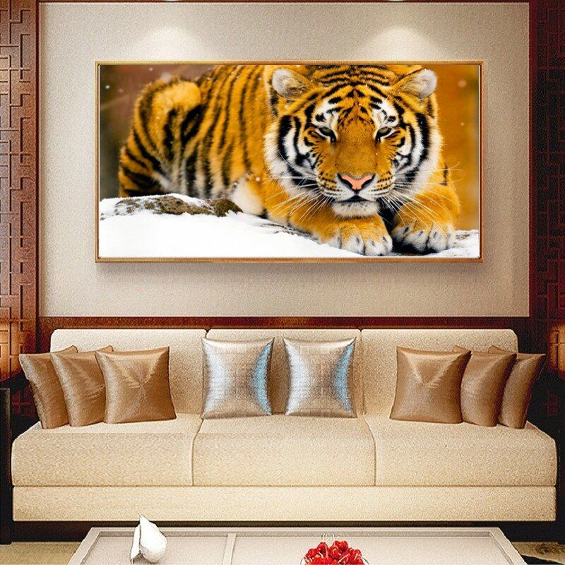 PSHINY 5D DIY Diamond painting tiger animals Pictures with full display Square rhinestones Diamond embroidery sale new arrivals