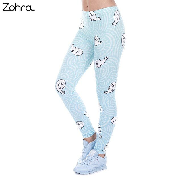 Zohra Sexy Legging White Seal Lovely Print High Elasticity Trousers Legins Women Leggings Woman Pants 100% Brand New