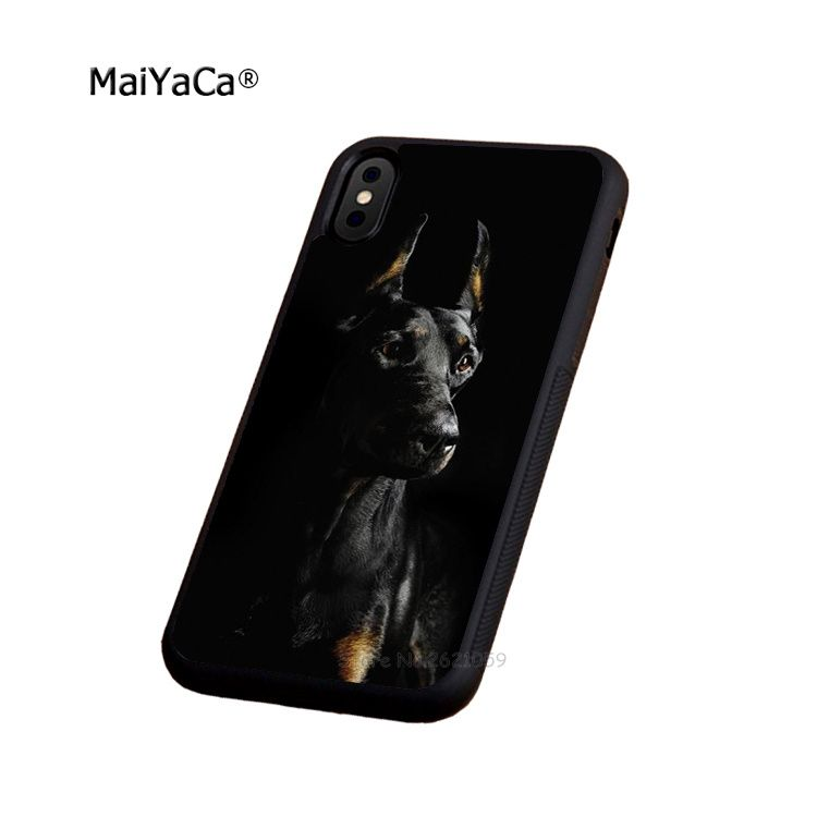Doberman pinscher dog soft edge phone case for iphone 5s se 6 6s plus 7 7plus 8 8plus X XR XS MAX black silicone cover case