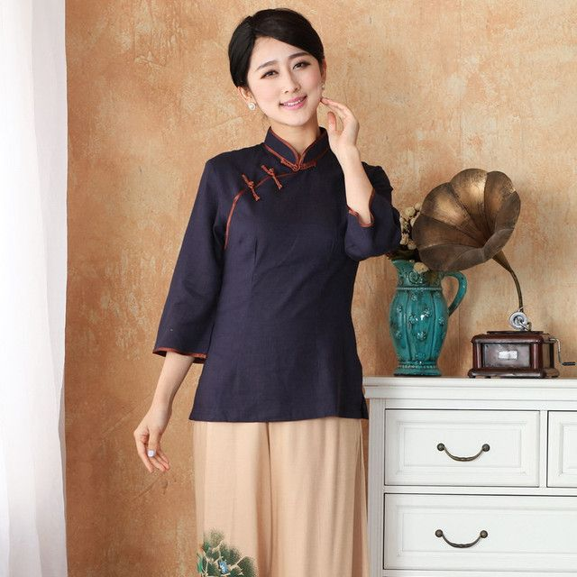 New Arrival Chinese Style Cotton Linen Female Tang Suit Tops Blouse Traditional Three Quarter Shirt Plus Size S TO 4XL 2382