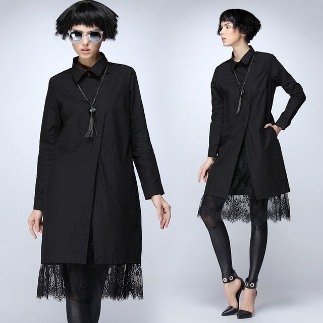 Women's spring 2016 new street fashion black coat and lace stitching shirt female personality