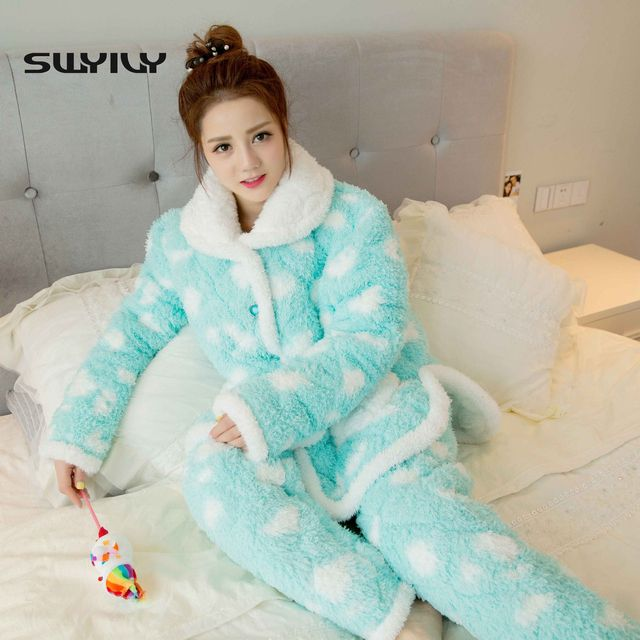 Women Winter Flannel Pajamas Female Winter Thick Warm Coral Velvet Pajamas Suits Long Pants Cute  Sleepwear