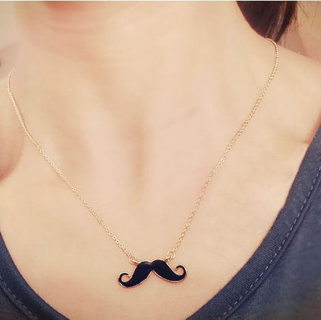 Cute Beard Necklace Mustache Long Chain Sweater Gold Plated Necklace Pendants Fashion Jewelry For Women