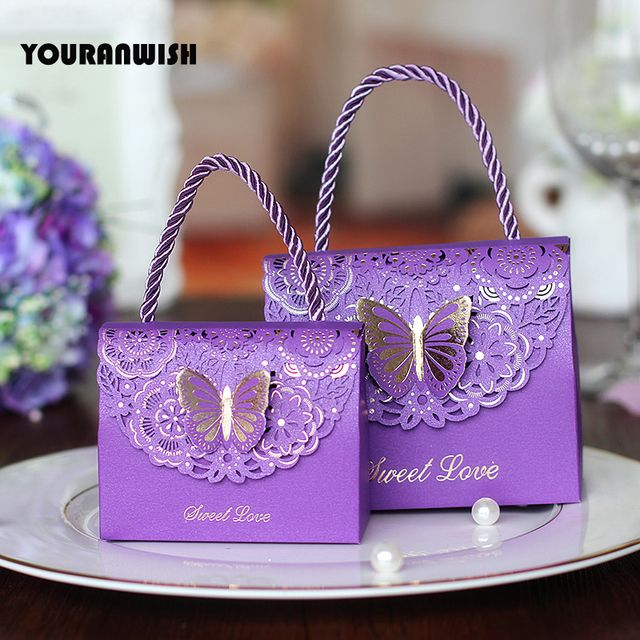 50pcs/lot High-quality Laser Cut Butterfly Flower Gift Bags Candy Boxes Wedding favors Portable Gift Box Party Favor Decoration