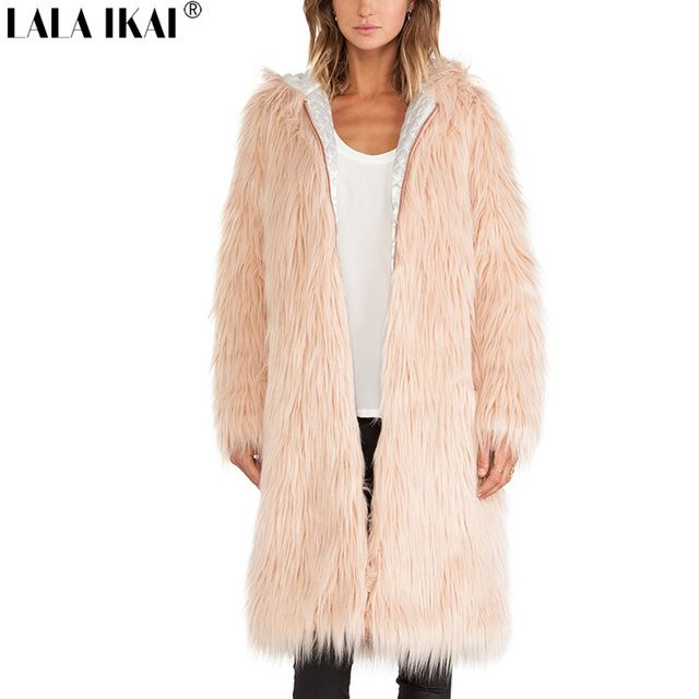 Extra Long Fur Coat With Full Woman Hooded Shaggy Cozy Pink Faux Fur Coats Women Thick Zipper Plus Size Outwear SWQ0182-1