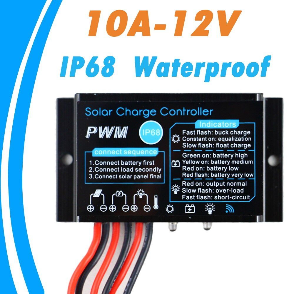 Solar 10A Charge Controller Regulator 12V 24V  Waterproof IP68 Without Light and Timer Control Load 24 hours Working Outdoor Use