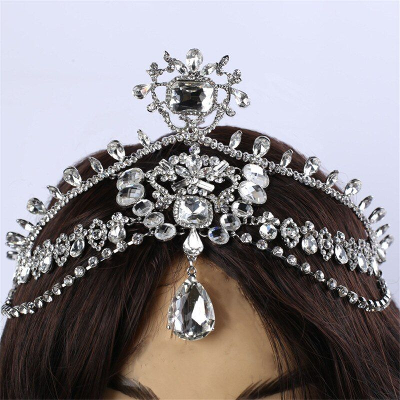 Fashion Sparkly Crystal Bridal Head Chain indian hair jewelry tikka women Wedding Tiara Bride forehead Decoration Accessories