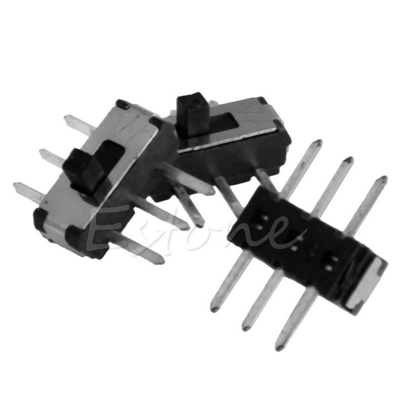 C18 New Hot 50Pcs Slide Switch 6 Pin Mini Toggle Switch SMD PCB 2 Position DPDT SMT Vertical