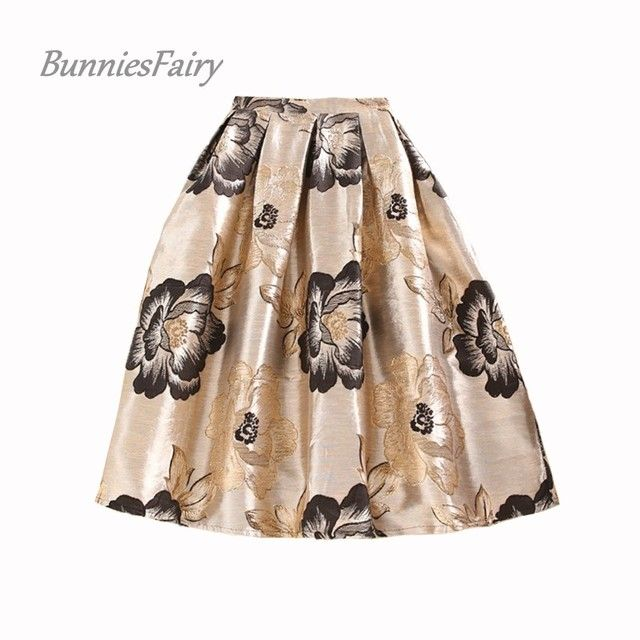 BunniesFairy 2016 Fall Winter Hepburn Royal Vintage Style Women Retro Flower Floral Print High Waist Midi Skirt Jacquard Saias