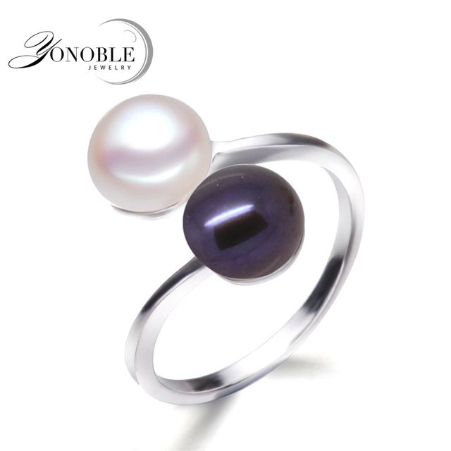 Black pearl rings for women natural double pearl men's ring 925 silver wedding rings with pearl engagement girl birthday gifts