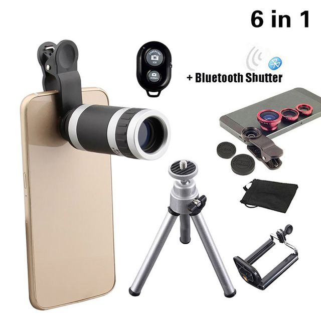 2017 6in1 Phone Camera Lenses Kit 8x Telephoto Lentes Fish Eye Wide Angle  Macro Lens Mini Tripod For iphone 6 6s 7 8 Smartphone